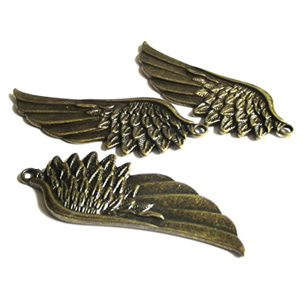 Heather's cf 9 Pieces Brass Tone Big Wing Beads DIY Charms Pendants 57X22mm