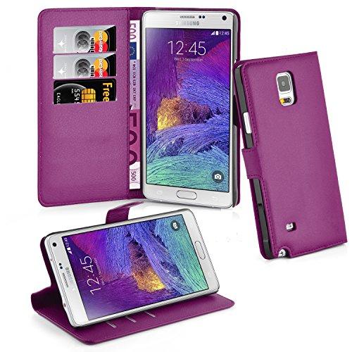 Cadorabo Hülle für Samsung Galaxy Note 4 - Hülle in Mangan VIOLETT – Handyhülle mit Kartenfach und Standfunktion - Case Cover Schutzhülle Etui Tasche Book Klapp Style