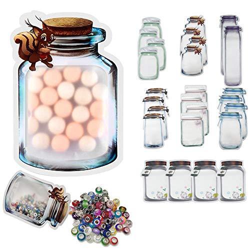 26PCS Mason Jar bolsas plastico bolsitas plastico pequeñas Hermética Reutilizable Bolsa Galleta Dulce Nueces Bolsa de Comida a Prueba de Fugas para Viaje Acampar Picnic