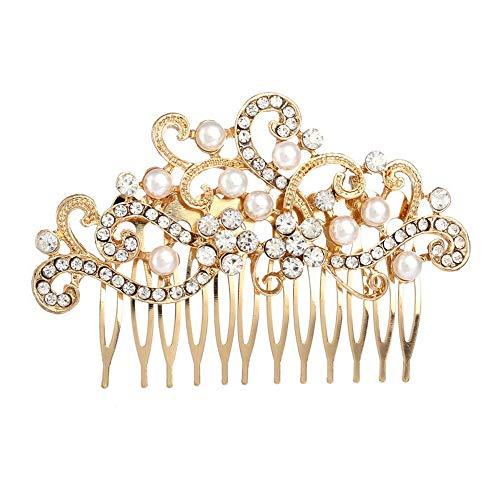 Missgrace Rhinestone Jewelry Comb Bridal Headpiece Hair Clip Women Hair Accessories(Gold)