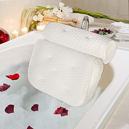 Bath Pillow 4D Air Mesh Bathtub Headrest with 7 Non Slip Suction Cups for Tub, SPA Pillow for Neck Shoulder Head Support - White