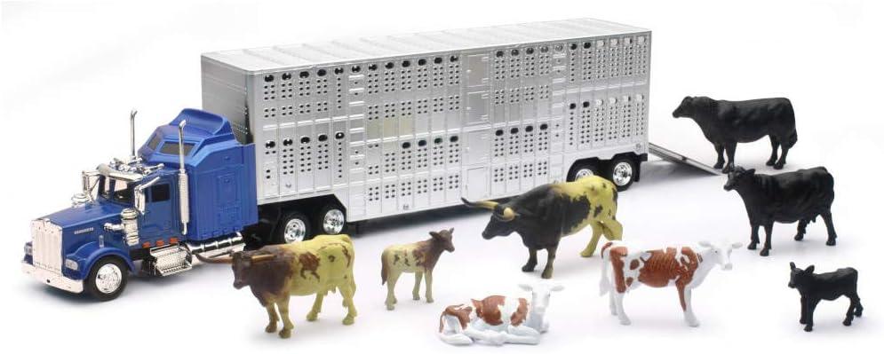 Country Life Farm Ranch Play Set Cows Semi Kenworth Truck Livestock Trailer