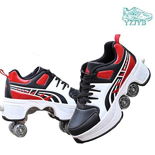 YZJYB Roller Skates 4 Wheels Laufschuhe Sneakers Deformation Männer und Frauen Turnschuhe Unsichtbare Räder Wanderschuhe Einziehbare Räder Skateboardschuhe,38