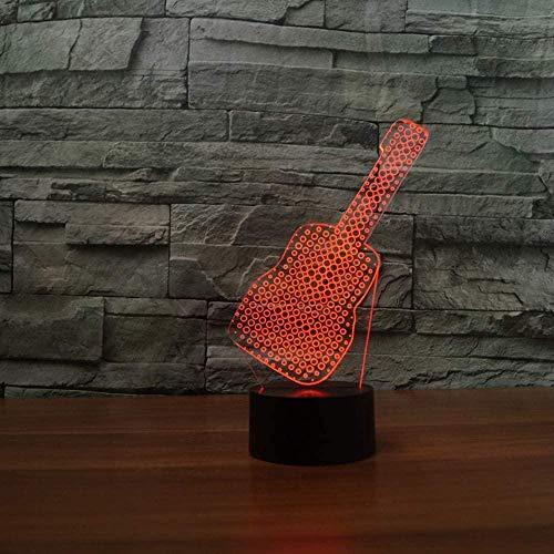 Luces de noche LED Entretenimiento estilo de guitarra 7 colores Cambio de fiesta Caja de batería USB Suministro de luz Regalo Decoración de la habitación Mesita de noche Hogar Acrí-16 colors remote
