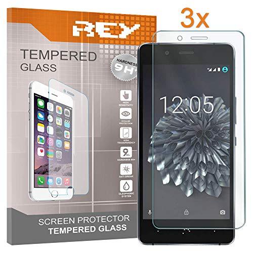 REY Pack 3X Panzerglas Schutzfolie für BQ AQUARIS X5 / X5 Cyanogen, Bildschirmschutzfolie 9H+ Festigkeit, Anti-Kratzen, Anti-Öl, Anti-Bläschen