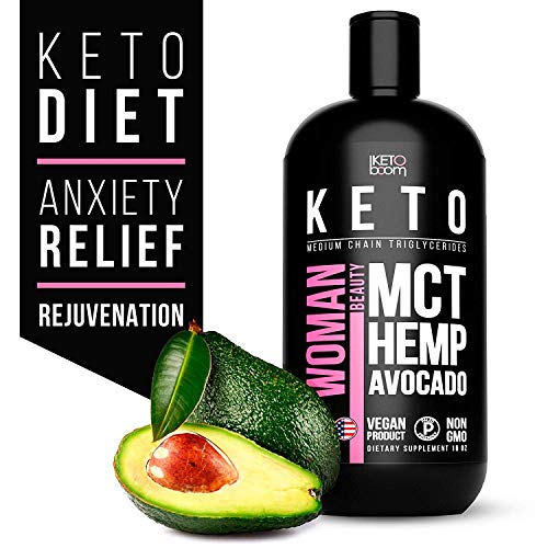Keto for Women. Organic MCT Oil + Hemp + Avocado. Triple Filtered and Cold Pressed C8 + C10 MCT Coconut Oil. Paleo and Vegan Friendly. Diet Stress Relief by Organic Hemp Oil. Made in USA