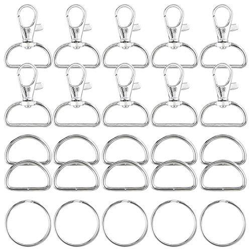 Jalan 60 STK Metallwirbel Karabinerverschlüsse Schlüsselhaken mit D-Ringen und Schlüsselringen für Bastelarbeiten DIY, Rucksack, Handtasche, Nähprojekte - Silber