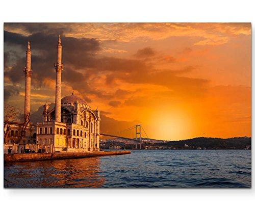Paul Sinus Art Leinwandbilder | Bilder Leinwand 120x80cm Ortaköy-Moschee bei Dämmerung – Istanbul