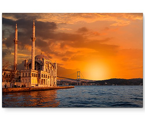 Paul Sinus Art Leinwandbilder   Bilder Leinwand 120x80cm Ortaköy-Moschee bei Dämmerung – Istanbul