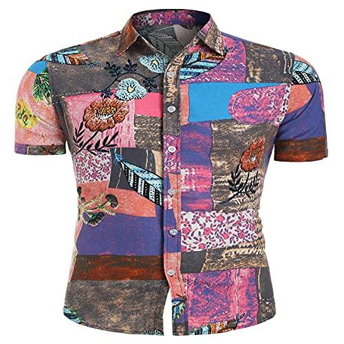 LSSM Camisa Estampada Casual De Manga Corta para Hombre De Verano Regular Camisa De Lino Standard-Fit Sleeve...