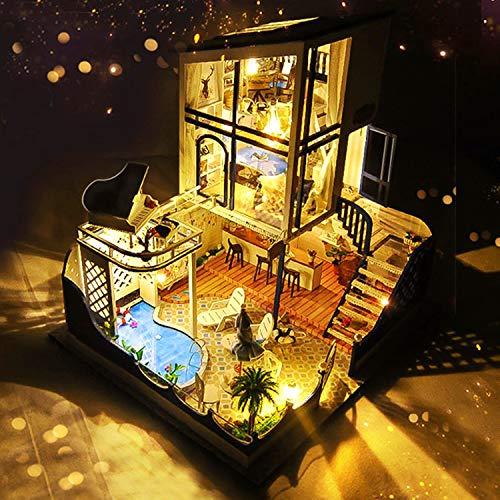 LEMESO ドールハウスキット 手作りキットセット ミニチュアコレクション「スターライト・ワルツ」DIY木製 オルゴール付属 (TB11-YY)