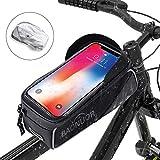 BAONUOR Fahrrad Rahmentasche Fahrrad Handytasche für iPhone 7 Plus/6s Plus/6 Plus/Samsung s7 Edge andere bis zu 6 Zoll Smartphones, Wasserabweisende Fahrrad Lenkertasche GRAU