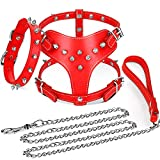 3 Pieces Studded Dog Leash Set Include PU Leather Spiked Dog Harness Studded Dog Collar and Dog Chain with for Small Dogs Puppy Chihuahua Poodle Corgi Pug (Red)