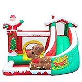 FHISD Castillo de Navidad para niños, Hamaca con tobogán de área de Salto Grande con Pared de Escalada, tobogán para niños en el Patio Trasero Castillo Hinchable para