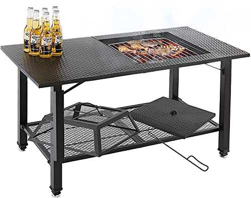 4-in-1 Fire Pit Table, Multifunctional BBQ Table ,Garden Patio Heater/BBQ/Ice Pit/Table with BBQ Grill Shelf,Poker, Mesh Screen Lid for Camping Picnic Campfire Patio Backyard