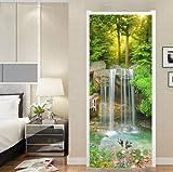 FLFK 3D Cascada del Arroyo de montaña Adhesivo Vinilos Puerta Pegatina Pared Murales para Cocina Sala de Baño Decorativos 77X200cm