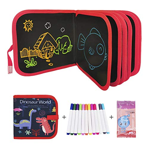 Double-Sided Erasable Drawing Pad Reusable PP Coloring Doodle Book Painting Pad Portable Writing Boards Kids Travel Drawing Pad 14 Pages Sketchpad with 12 Watercolor Pens for Toddlers Dinasour