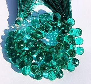 "Jewel Beads Natural Beautiful jewellery 7x9-9x12 mm Teal Green Quartz Faceted Teardrop Briolette 4"" InchesCode:- JBB-17122"