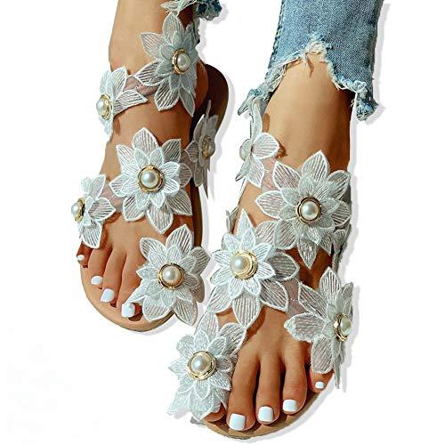 Jiacheng29_ Sandalias, Mujer Moda Encaje Flores Imitación Perlas Zapatos Con Incrustaciones Verano Clip Dedo Del Pie Sandalia blanco 43