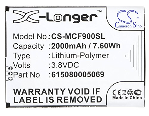 CS-MCF900SL Akku 2000mAh Kompatibel mit [MOBISTEL] Cynus F9, Cynus F9 4G, F303-S Ersetzt 615080005069