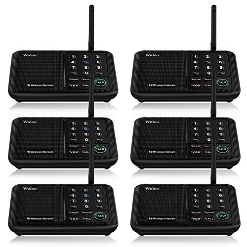 whole house intercom systems Wuloo Intercoms Wireless for Home 5280 Feet Range 10 Channel 3 Code, Wireless Intercom System for Home House Business Office, Room to Room Intercom, Home Communication System (6 Packs, Black)
