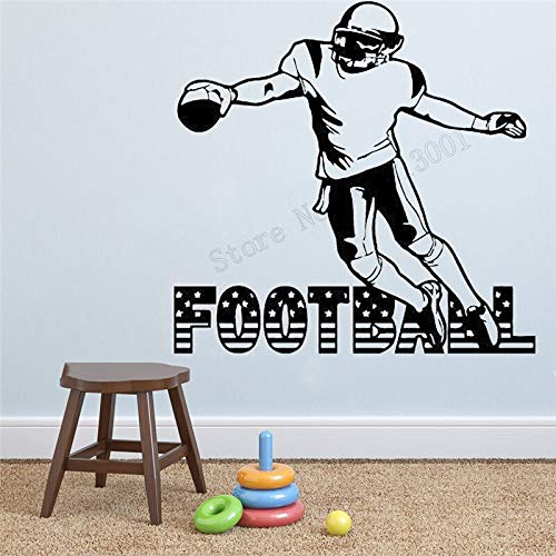yaonuli Wall art sticker voetballer decoratieve vinyl verwijderbare poster ontvanger quarterback muurschildering sport decoratie jongen kamer decal