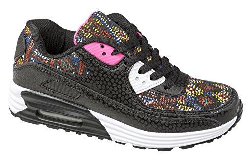 gibra® Damen Sneaker, schwarz mit Muster, Gr. 38