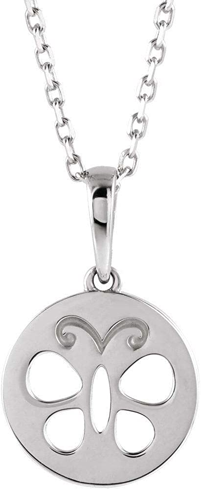 Girls Youth Child Butterfly Disc Charm Pendant Chain Necklace 15