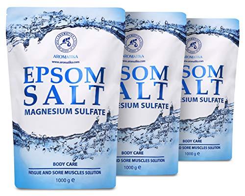 Epsom Salz Badesalz 3kg - 3000g - Konzentrierte Magnesiumquelle - 100% Natürliches Salz - Entspannung & Entgiftet - Lindert Muskelkater - Wohltuendes & Wärmendes - Körperpflege - für Guten Schlaf