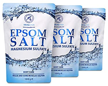 Sales de Baño 3kg - Sal de Epsom 3000g - 100% Pura & Natural - Fuente Concentrada de Magnesio - Relajación & Recuperación Muscular - Desintoxicación - Cuidado del Cuerpo - Cura - Mejor Buen Sueño