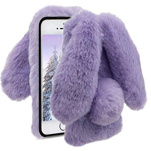 Herzzer Fourrure Violet Paillette Coque pour iPhone 5S, Hiver Chaud Soft Etui Handmade Fluffy Villi avec Oreille de Lapin Housse de Protection Luxe Bling Strass TPU Silicone pour iPhone 5 5S Se