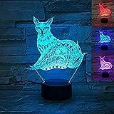 Lámpara 3D de ilusión óptica de zorro, 7 colores, interruptor táctil, ilusión, luz nocturna, para dormitorio, hogar, decoración, boda, cumpleaños, Navidad, regalo de San Valentín