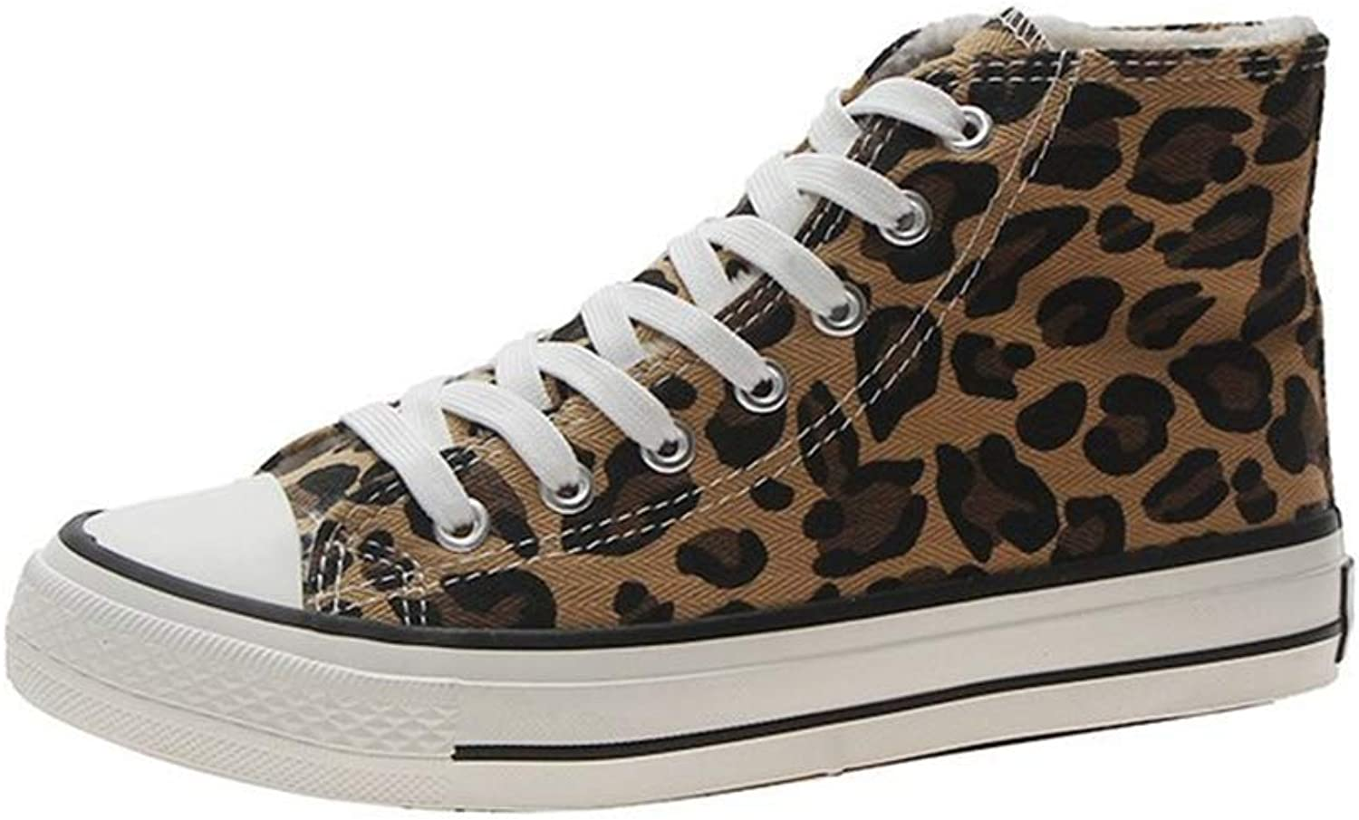 Womens Fashion Leopard Canvas Flat Round Toe Outdoor shoes Casual Sneakers