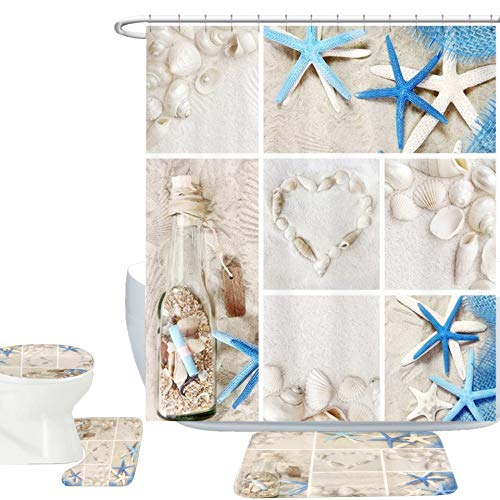 Amagical Blue Starfish Seashell Conch 16 Piece Shower Curtain Bathroom Mat Set Wishing Bottle Love Stone Design Bath Mat + Contour Mat + Toilet Cover + 12 Hooks + Shower Curtain (Blue Starfish)