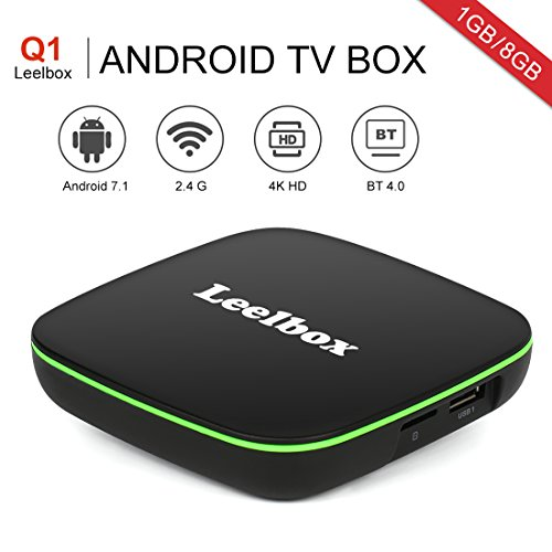 Leelbox - [2018 Ultima Generazione] Q1 Android 7.1 TV Box con 1GB RAM /8GB ROM Smart TV Box Con BT 4.0 Supporta 4K (60Hz) Full HD /H.265 /WiFi