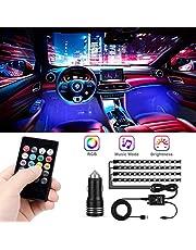 CHICIRIS Auto interieur verlichting - 48 leds RGB decoratieve omgevingsverlichting - Waterdichte USB strip Licht neon lamp met auto oplader en draadloze afstandsbediening, smart muziek mode (4 stuks)