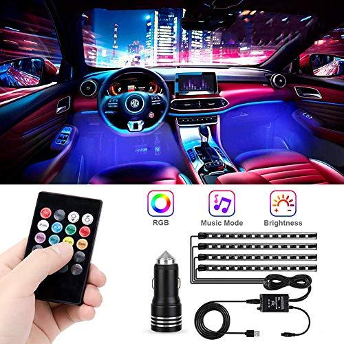 Luces Interiores del Automóvil, 48 Luces LED RGB con 16 Modos de Iluminación, Control Remoto de Luces de Color a Prueba de Agua IP65, Luces de Decoración del Automóvil con Carga USB con Toma de 12v