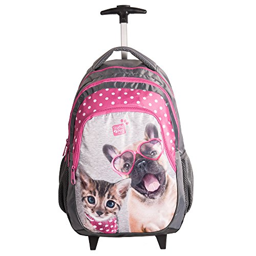 Kinder Trolley 45x29x24 cm - Studio Pets Collection - Hund & Katze - GRAU/PINK