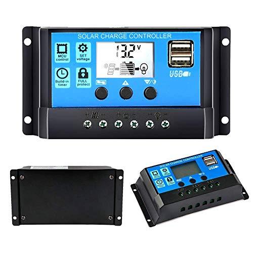 Y&H 10A 12V/24V Contrôleur de charge solaire Batterie régulateur solaire Panneau intelligent avec double port USB 5V Light Timer Control LCD Display