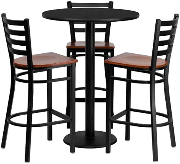 Emma Oliver 30 Round Black Laminate Table Set 3 Ladder Back Metal Barstools