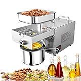 PLEASUR máquina de prensa de aceite de 600 W con pantalla LCD digital, control automático de temperatura para expulsión de aceite de oliva, cacahuate, sésamo, perilla, nogal, almendra, etc.