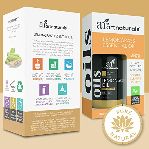 ArtNaturals Lemongrass Essential Oil 4oz - 100% Pure Therapeutic Grade - Premium Undiluted Lemon Grass Oil - for Diffuser - Aromatherapy - Safe for Skin & Hair - Natural - w/Dropper
