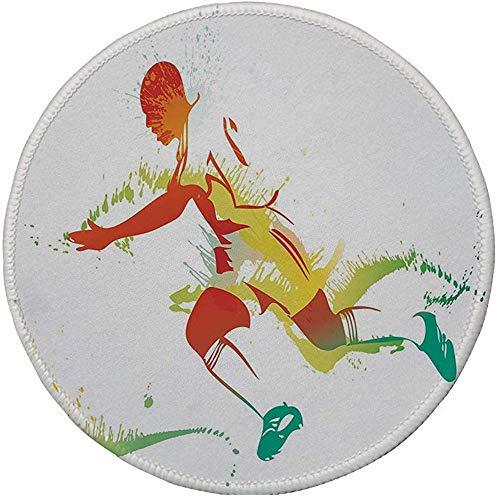 Antislip rubber ronde muismat, tiener kamer decor, jonge man spelen voetbal voetbal atleet spel Cham-pion penseel Artwork