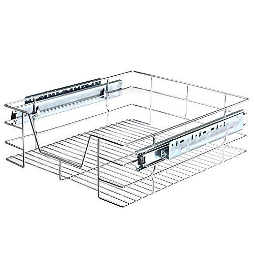 BAKAJI Cajón telescópico para Muebles de Cocina, Cesta extraíble para Ahorrar Espacio con riel de Acero Inoxidable (40 cm)
