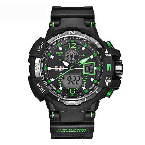 MIAO Orologio elettronico di plastica di Sport degli Uomini multifunzionali all'aperto 50 Metri Impermeabili, Green