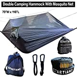 Camping Hammock with Mosquito Net Largest 118'X79' Extra Strong Ripstop Nylon Camping Hammock Reversible, Compact, Lightweight & Portable with Bug Free Netting Great for Travel, Beach or Yard