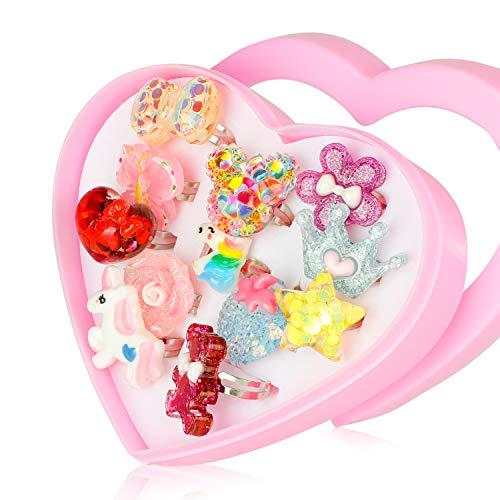 HIFOT kinderringe mädchen Prinzessin Schmuck Set 12 Stück, Kristall Verstellbare Ringe für Mädchen mit Herzformkasten, Girl Dress up Rings Fingerringe