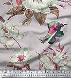 Soimoi Grau Baumwolle Batist Stoff Blumen & Vogeldruck