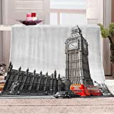 WOISUM Decke Kuscheldecke Big Ben, London Microfaser Flanelldecke für Kinder & Erwachsene Tagesdecke Sofadecken 3D-Druck Weiche Leichte Durable Reisen Flauschig Warmen Steppdecke