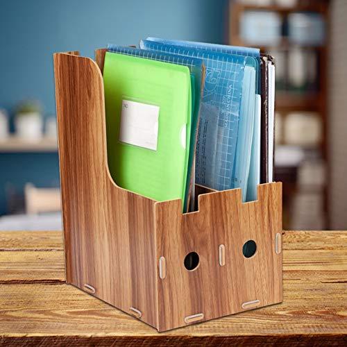 Soporte para libros de madera lisa de superficie 9.8 * 7.5 * 12.4in para oficina en casa negro/madera de cerezo(Sakuragi)